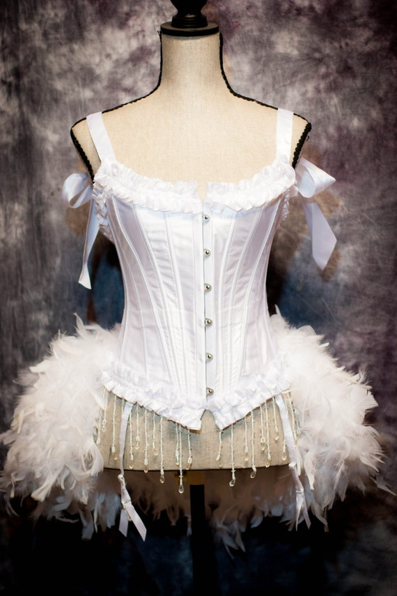 WHITE SWAN Costume Burlesque Wedding dress beaded bridal corset feather train