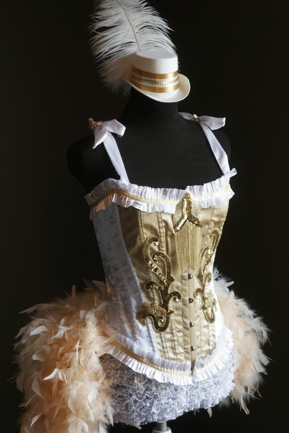 049155f223 OLYMPIAN Plus Size 2XL White Gold Burlesque Corset Costume feather prom  dress