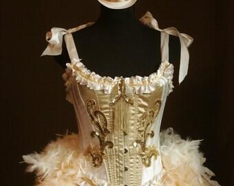 OLYMPIAN Burlesque Costume Gold Victorian Corset Caberet Circus Carnival Dress