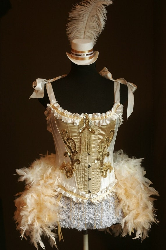 OLYMPIAN Gold White Corset Burlesque Costume Moulin Showgirl Dress