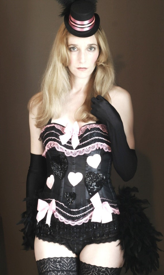 XXL PINKY - Burlesque Corset Costume, Queen of Hearts, Pink Black