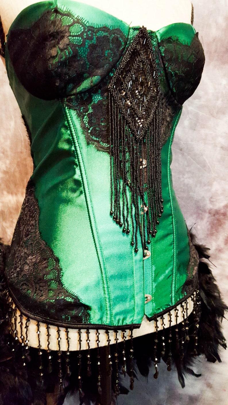 b6c67b2a644 GREEN FAIRY Costume Steampunk Dress Saloon Girl Black Moulin