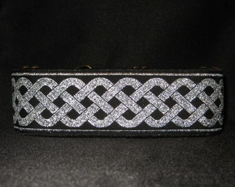 Celtic Knot Silver 1, 1.5 or 2 Inch Martingale Dog Greyhound Collar - Padded and Lined with Free Custom Sizing