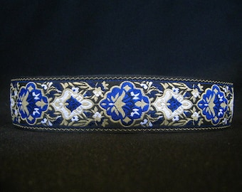 Falco Cobalt Blue 1.5 or 2 inch Martingale Greyhound Dog Collar - Padded and Lined with Free Custom Sizing