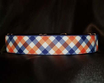 Navy Blue and Orange Plaid 1, 1.5 or 2 Inch Martingale Greyhound Dog Collar Padded and Lined with Free custom Sizing Detroit Tigers Colors
