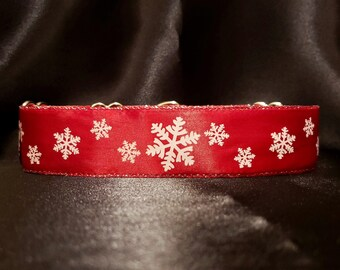 Winter Snowflake 1.5 or 2 Inch Martingale Greyhound Dog Collar - Padded and Lined with Free custom Sizing - Red White and Silver