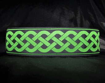 Celtic Knot Kelly Green 1, 1.5 or 2 Inch Irish Martingale Dog Collar - Padded and Lined with Free Custom Sizing