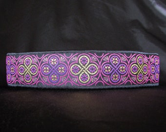 Celtic Shield Pink and Purple with Metallic Gold 1.5 or 2 inch Martingale Greyhound Dog Collar - Padded and Lined with Free Custom Sizing