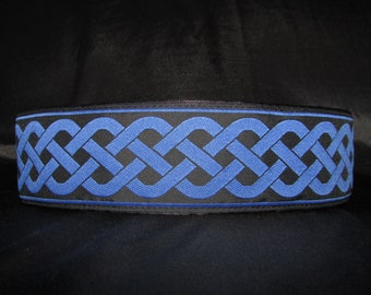 Celtic Knot Blue 1, 1.5 or 2 inch Martingale Dog Greyhound Collar - Padded and Lined with Free Custom Sizing