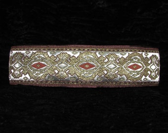 Mocha Diamond 2 inch Greyhound Martingale Dog Collar - Padded and Lined with Free Custom Sizing - Brown, Metallic Gold, and Silvery White