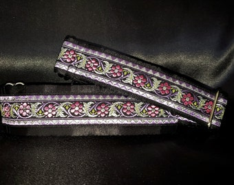 Tessa 1.5 or 2 inch Martingale Greyhound Dog Collar - Padded and Lined with Free Custom Sizing - Pink Purple Silver Bavarian Floral