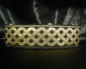 Celtic Knot Gold 1, 1.5 or 2 Inch Martingale Dog Greyhound Collar - Padded and Lined with Free Custom Sizing