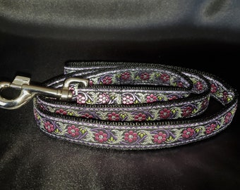 Tessa Leash - Made to Match SavingGreys Tessa Martingale Dog Collar - Pink and Purple Bavarian Floral w/ Metallic Silver Accents - Lead Only