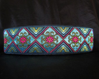 Nora Turquoise Blue and Fuchsia 2 inch Greyhound Martingale Dog Collar - Padded and Lined with  Free Custom Sizing