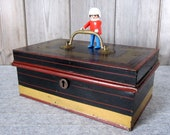 Antique large moneybox c.1800s Vintage metal cash box with brass handle Victorian petty cash tin, money box