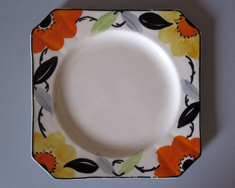 Vintage art deco cake plate c.1930s  Myott hand painted pottery cakes stand