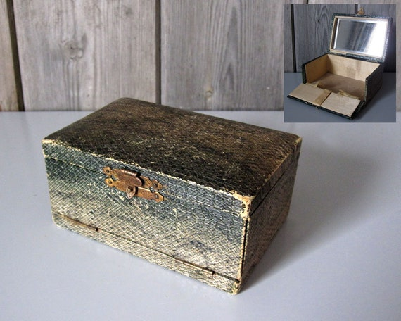 Vintage vanity jewellery travel box in snakeskin with ruched silk and bevelled mirror