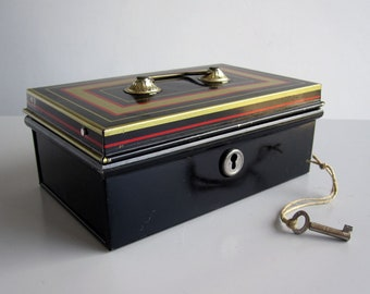 Vintage Chad Valley metal money box with key and insert / Cash box, petty cash, savings bank, savings tin c.1950s
