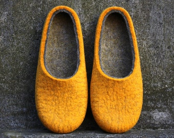 Orange felt wool slippers, Wooly cozy home slippers for women, Sustainable indoor slippers, Made in UK by onstail