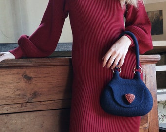 Navy blue Boho style top handle bag, Cross body felted wool bag, Fashionable small bag, Bespoke felted wool bag by onstail made in UK