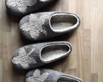 Clover for Cinderella, Sustainable and eco friendly wool felt slippers for women in size EU40 and EU 37.5 Slippers for women made in UK