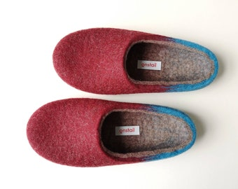 Burgundy Red and Blue felt wool slippers, One style slippers for women and men, Sustainable and eco wool indoor slippers made in UK