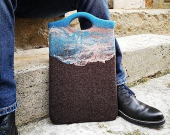 Laptop sleeve for Macbook Air, Macbook Pro, iPad. Eco Felt laptop case, Felt laptop bag with top handle, Felted laptop sleeve made in UK
