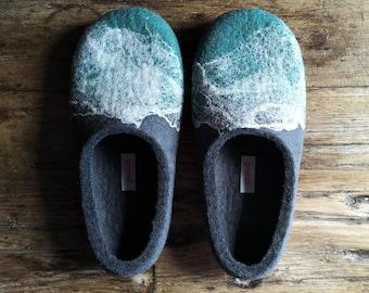 Felt wool slippers for men in size EU42, UK8, US8,5, Sustainable home felt slippers, Eco wool slippers made in UK by Onstail