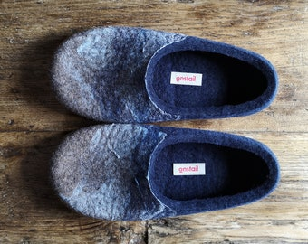 Slippers for men in navy blue, Felt wool slippers with the Ocean wave pattern, Non slip indoor slippers, Eco wool slippers made in UK