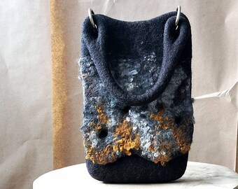 Cute Small Bags, Small Boho Purse, Felt Wool Bags for Women, Black Purse with Phone Holder, Fall Handbag with Handle, Gift for Women Friend