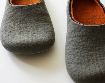 Hard line, Felt slippers Handmade to order, Grey and orange wool indoor slippers for adults, Unisex style slippers made in UK,