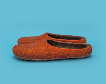 Felted slippers, Wool slippers, Gift for women, Gift for men, Self loving gift,  Hand felted wool slippers by onstail made in Great Britain