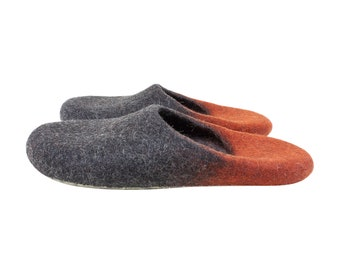 Slippers for men and women in black and red. Eco felt wool slippers. Sustainable unisex style indoor slippers made in UK. Onstail