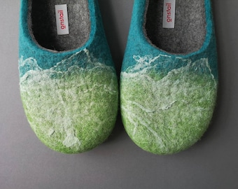 Unique felted home slippers for women or men, Felt slippers in ocean green colours, Cozy and hand crafted in UK. Eco gift idea by Onstail