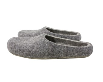 Felt wool slippers. Grey slippers. Eco wool felt slippers made to order in men and women size. Sustainable slippers made in UK. Onstail