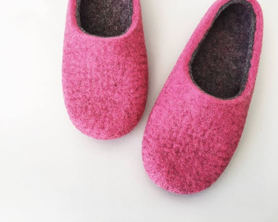 Pink Onstail 5 wife Pink wool are ready to mum slippers size for gift women's felted for UK by in Gift Felt Hand ship slippers Smoked fWrqwU7Rfn