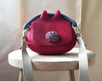Red felted pouch cross body bag. Bespoke felted mini bag. Designer wool felt bag. Sustainable felt fashion. Handcrafted in UK