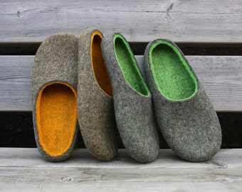 Felted wool slippers handmade to order. In to the woods. Natural wool felt slippers. Other colour options available. Made in UK