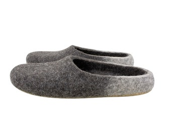 Eco grey wool felt slippers in women's size UK4,5/  EU37,5/ US7, Gift for mum, Indoor non slip slippers for wife, long-distance gift idea