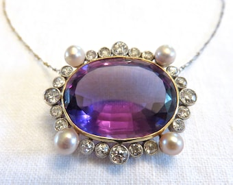 Spring Sale  Circa 1900, Amethyst Pendant Set With Old European Cut Diamonds and Pearls