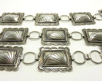 Circa 1970 Navajo Sterling Silver Concha/Link Belt By Benson Yazzie