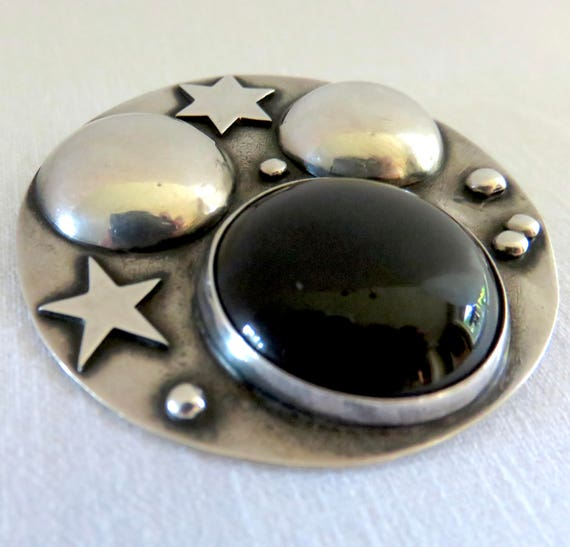 Circa 1970 Sterling Silver and Onyx Stars and Plan