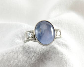 Spring Sale Appraisal Value, 9900.  Circa 1950 6.00 Carat Star Sapphire and Diamond Ring