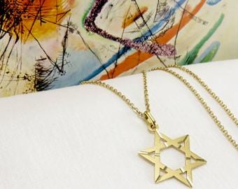 18KT Gold Star of David