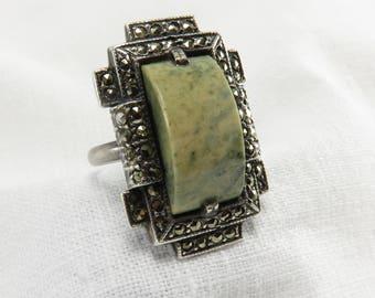 Circa 1930 Art Deco Jasper and Marcasite Ring