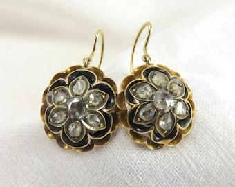 Circa 1840's Rose Cut Diamond Earrings