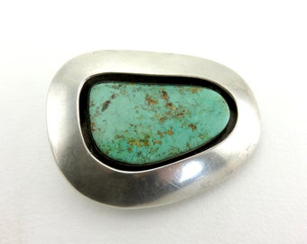 Circa 1970 Sterling Silver and Turquoise Navajo belt buckle by Mary Rita Padilla