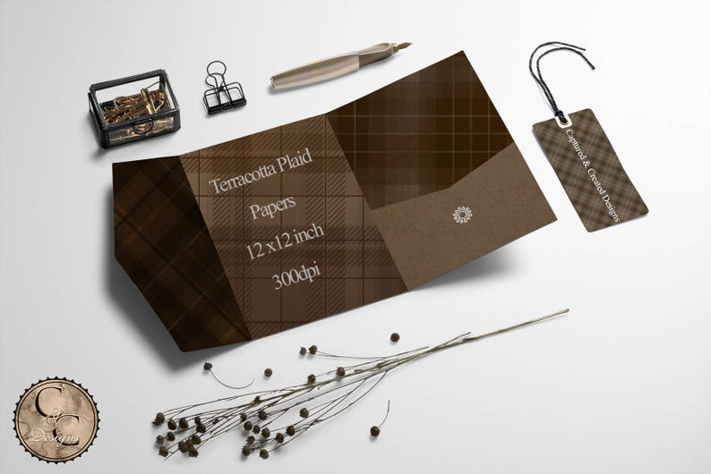 Sandstone-A Study In Plaid 18 Digital PapersBrown Tones*****Instant Download