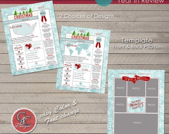 Christmas / Holiday Double Sided Year End Review 8.5 x 11 in. Page Template  17-012 * Instant Download*