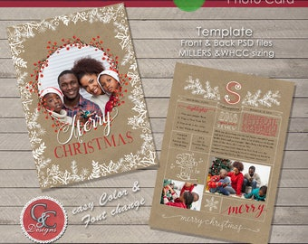 Christmas Year End Review Photo Card With Monogram Selection 17-06 * Instant Download*